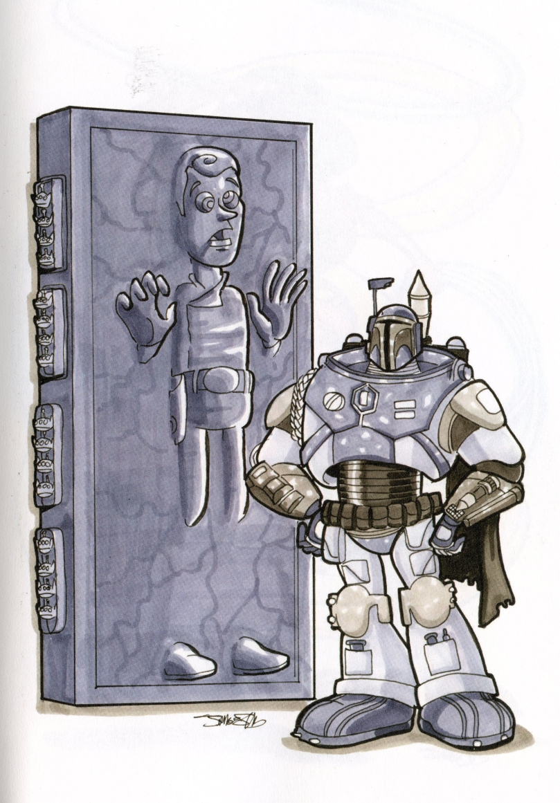 Woody & Buzz / Han Solo in carbonite & Boba Fett