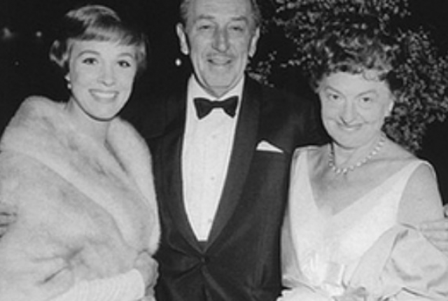 The real P.L. Travers with Walt and Julie Andrews at the premier of Mary Poppins