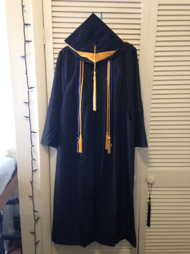 Actual photo of my graduation robes!