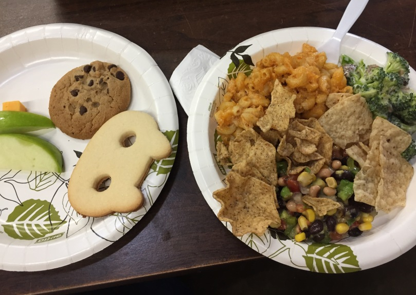 I got this big meal in exchange for bringing cookies to a potluck yesterday!