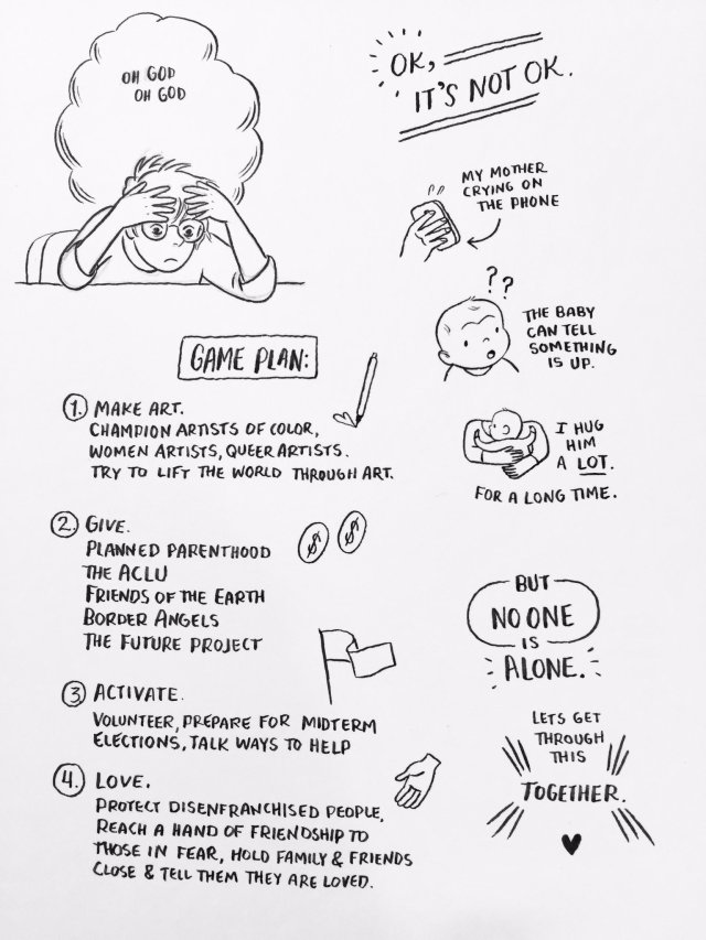 Illustration by Lucy Knisley with ways to help.